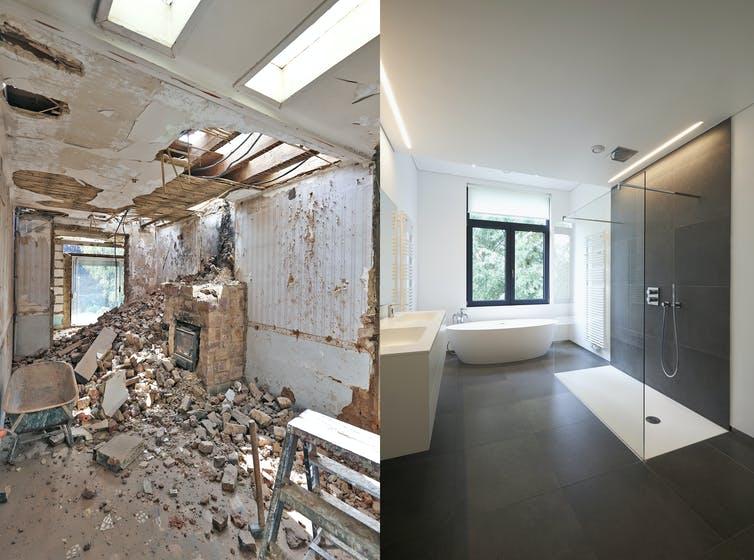 Avant et après une rénovation de maison